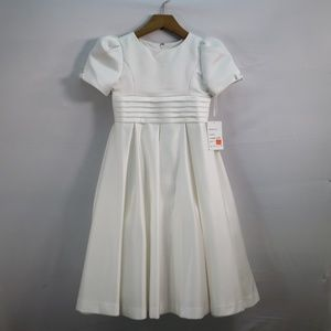 US ANGELS SHORT SLEEVE IVORY SATIN DRESS